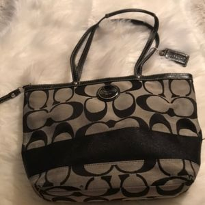 COACH EUC Signature C Bag Black Sparkle Metallic